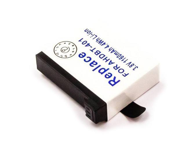 Akku für Action-Kamera GoPro HERO4, wie AHDBT-401, BT-401, Li-Ion