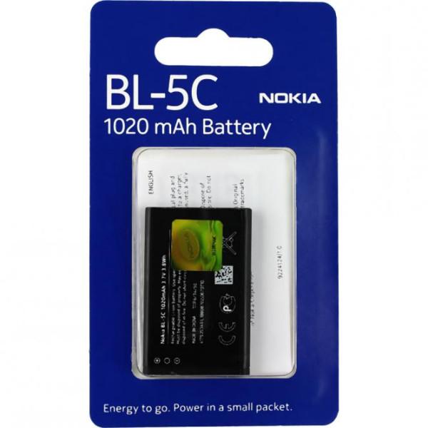 Akku Original Nokia BL-5C für 6230i, 1101, 1108, 1200, 2310, 2600, Asha 203, 220, C1-00, im Blister