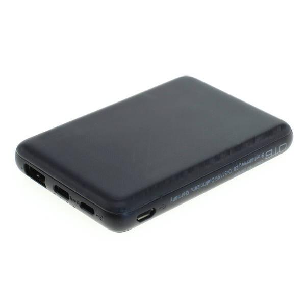 Universal Zusatz-/ Notfall-Akku Powerbank mit 5000 mAh zum Laden fast aller Geräte, USB-/C-Ausgang