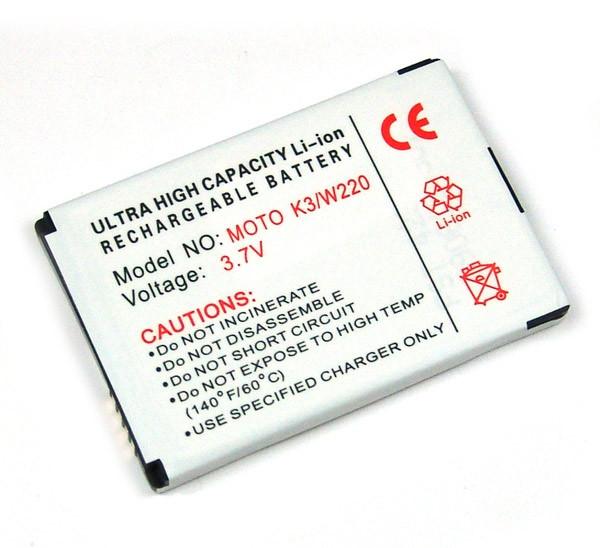 Akku für Motorola A1010, A810, C975, E1000, K3 MOTOKRZR, V1050, W180, W380, wie BT50, BQ50