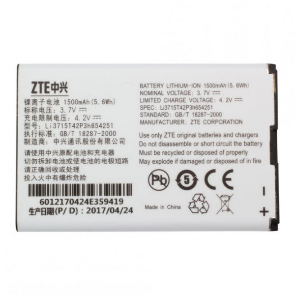 Akku Original ZTE Li3715T42P3h654251 für ZTE D800, MF30, MF60, U700, X501, X920, X925, Vodafone 945