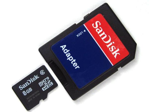 Speicherkarte micro-SD HC Card (Trans Flash), 8 GB, Class 10, inkl. Adapter auf SD-Card