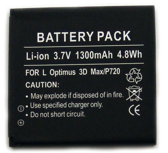 Akku für LG C800, CX2, P720 Optimus 3D, P725, VM696, T-Mobile myTouch Q/4G, entpsricht BL-48LN
