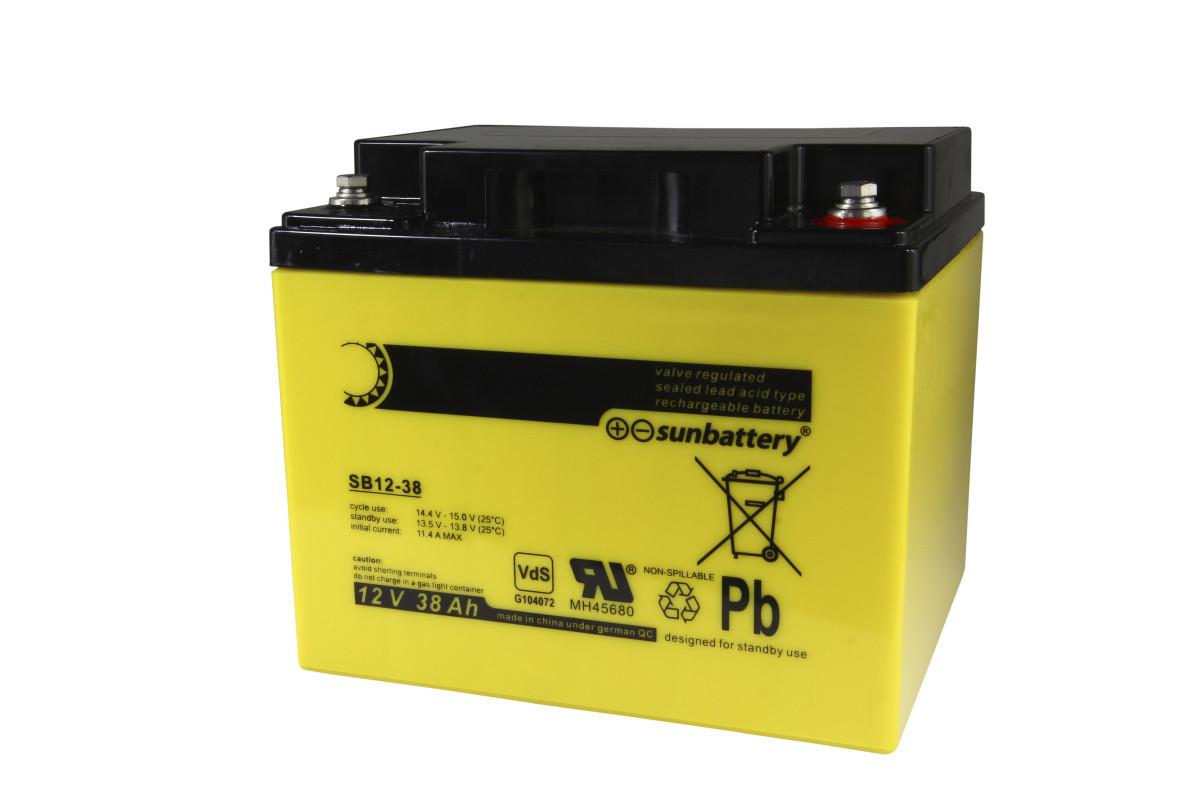 Blei-Akku Sunbattery SB12-38, 12 Volt, 38 Ah, 10-Jahres-Batterie