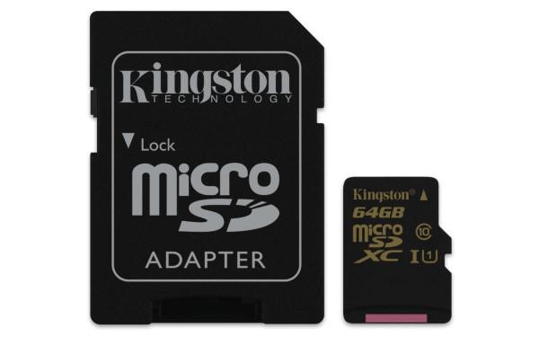Speicherkarte micro-SDXC Card (Trans Flash), 64 GB, Class 10, inkl. Adapter auf SD-Card