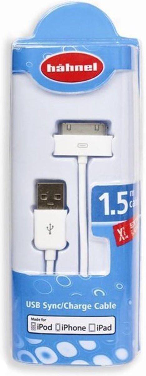 Hähnel USB-Datenkabel für Apple iPhone 4/4s, 3G/3GS, iPad, iPod, 1.5 Meter, weiß, Hä...