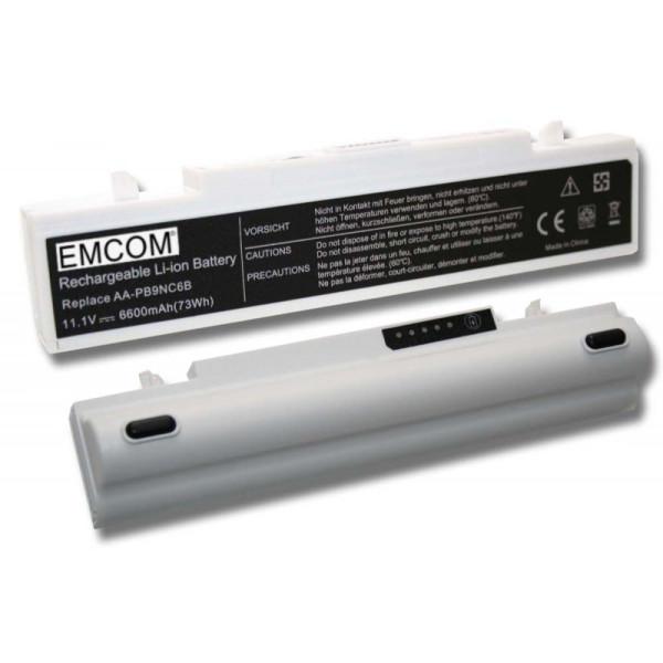 Hochleistungs-Akku für Samsung E272, P480, P580, Q318, wie AA-PB9NC6B, AA-PB9NC5B, 6600mAh, weiß