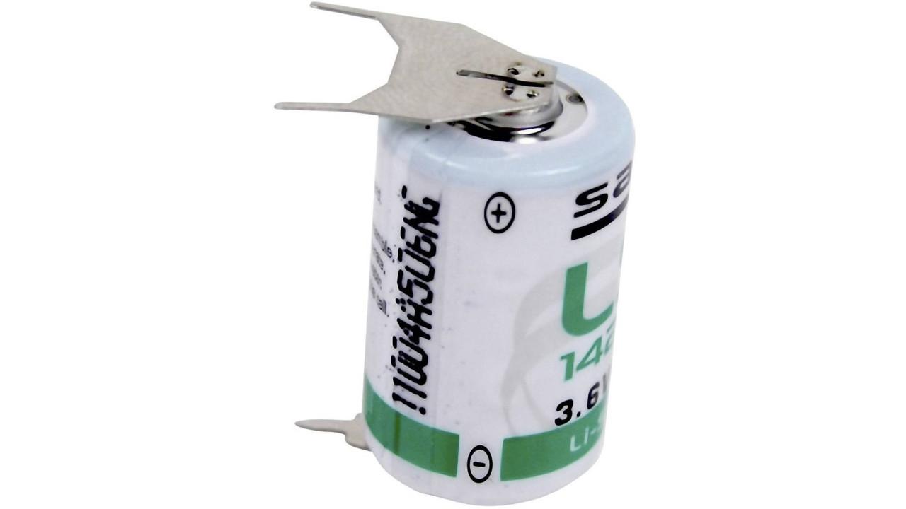 Lithium-Batterie Saft LS14250, 1/2 AA, 3.6 Volt, 3er Print-Lötfahne