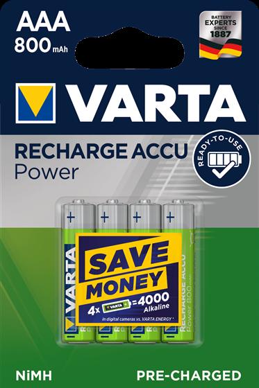 Batterie AAA Varta Recharge ACCU Power 800mAh, NiMH, 4er Blister, wie LR03, A...