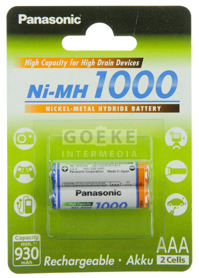 4 Akkus AAA 1000mAh Panasonic High Capacity micro Batterie NiMH BK-4HGAE//BF1 R3