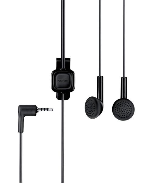 Stereo-Headset original Nokia WH-101, HS-105, mit Rufannahme, 2.5 mm Stecker, schwarz